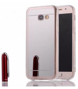 """Sidabrinės spalvos silikoninis dėklas Samsung Galaxy A3 2017 telefonui """"Mirror"""""""