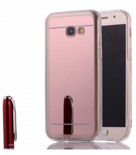 """Rausvai auksinės spalvos silikoninis dėklas Samsung Galaxy A3 2017 telefonui """"Mirror"""""""