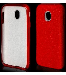 """Raudonas silikoninis blizgantis dėklas Samsung Galaxy J3 2017 telefonui """"Blink"""""""