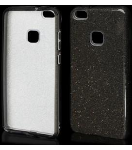 """Juodas silikoninis blizgantis dėklas Huawei P10 Lite telefonui """"Blink"""""""