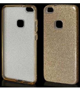 """Auksinės spalvos silikoninis blizgantis dėklas Huawei P10 Lite telefonui """"Blink"""""""