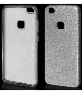 """Sidabrinės spalvos silikoninis blizgantis dėklas Huawei P10 Lite telefonui """"Blink"""""""