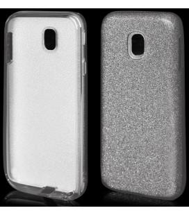 """Sidabrinės spalvos silikoninis blizgantis dėklas Samsung Galaxy J3 2017 telefonui """"Blink"""""""