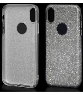 """Sidabrinės spalvos silikoninis blizgantis dėklas Apple iPhone X telefonui """"Blink"""""""