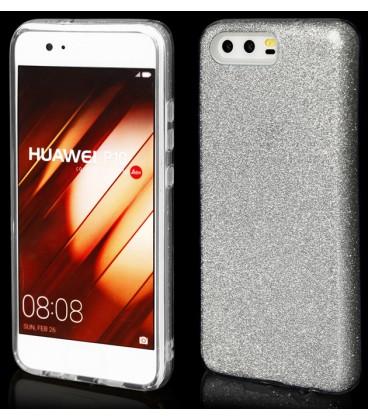 """Sidabrinės spalvos silikoninis blizgantis dėklas Huawei P10 telefonui """"Blink"""""""