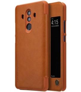 """Odinis rudas atverčiamas dėklas Huawei Mate 10 Pro telefonui """"Nillkin Qin S-View"""""""