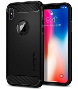 "Juodas dėklas Apple iPhone X telefonui ""Spigen Rugged Armor"""