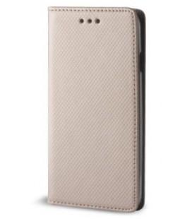 """Auksinės spalvos atverčiamas dėklas Samsung Galaxy A8 Plus 2018 telefonui """"Smart Book Magnet"""""""