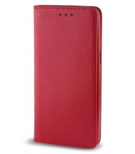 """Raudonas atverčiamas dėklas Samsung Galaxy A8 Plus 2018 telefonui """"Smart Book Magnet"""""""