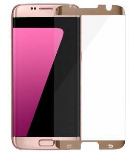 Lenktas auksinės spalvos apsauginis grūdintas stiklas CF Samsung Galaxy S7 Edge telefonui