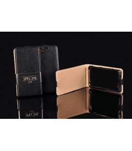 """Odinis juodas atverčiamas klasikinis dėklas Huawei Y6 2017 telefonui """"Vertical Special Case"""""""
