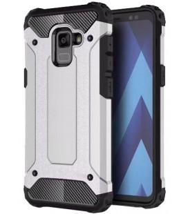 """Sidabrinės spalvos dėklas Samsung Galaxy A8 2018 telefonui """"Hybrid Armor Case"""""""