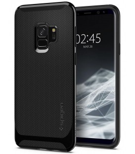 "Blizgus juodas dėklas Samsung Galaxy S9 telefonui ""Spigen Neo Hybrid"""