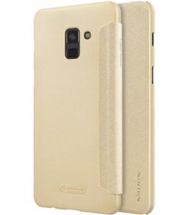 """Atverčiamas auksinės spalvos dėklas Samsung Galaxy A8 2018 telefonui """"Nillkin Sparkle"""""""