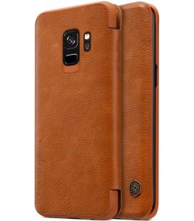 """Odinis rudas atverčiamas dėklas Samsung Galaxy S9 telefonui """"Nillkin Qin"""""""