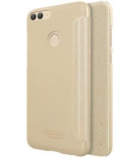 """Atverčiamas auksinės spalvos dėklas Huawei P Smart telefonui """"Nillkin Sparkle"""""""