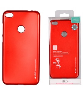"""Raudonas silikoninis dėklas Huawei P8/P9 Lite 2017 telefonui """"Mercury iJelly Case Metal"""""""