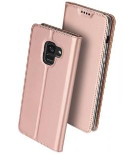 """Rausvai auksinės spalvos atverčiamas dėklas Samsung Galaxy A8 2018 telefonui """"Dux Ducis Skin"""""""