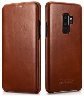 """Rudas odinis atverčiamas dėklas Samsung Galaxy S9 Plus telefonui """"iCarer Vintage"""""""