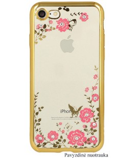 """Auksinės spalvos dėklas Apple iPhone X/XS telefonui """"Flower"""""""