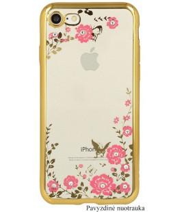 """Auksinės spalvos dėklas Samsung Galaxy J3 2016 telefonui """"Flower"""""""