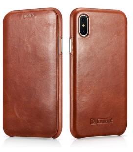 """Rudas odinis atverčiamas dėklas Apple iPhone X telefonui """"iCarer Vintage"""""""