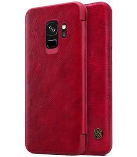 """Odinis raudonas atverčiamas dėklas Samsung Galaxy S9 telefonui """"Nillkin Qin"""""""