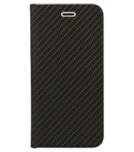 """Juodas atverčiamas Carbon dėklas Huawei P20 Lite telefonui """"Book Vennus Carbon Z"""""""
