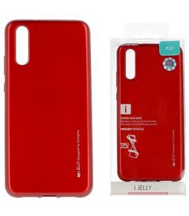 """Raudonas silikoninis dėklas Huawei P20 telefonui """"Mercury iJelly Case Metal"""""""