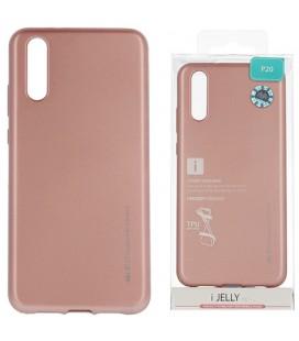 """Rausvai auksinės spalvos silikoninis dėklas Huawei P20 telefonui """"Mercury iJelly Case Metal"""""""