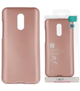 """Rausvai auksinės spalvos silikoninis dėklas Xiaomi Redmi 5 Plus telefonui """"Mercury iJelly Case Metal"""""""