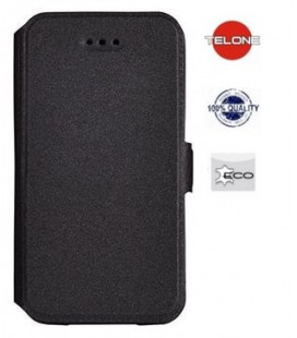 """Juodas atverčiamas dėklas Sony Xperia XZ2 Compact telefonui """"Telone Book Pocket"""""""