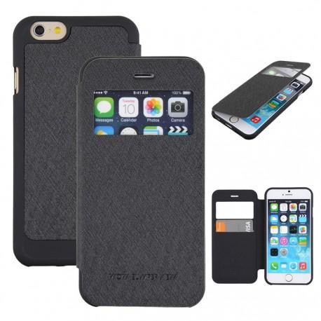"""Juodas atverčiamas dėklas iPhone 6 telefonui """"WOW Bumper View Mercury"""""""