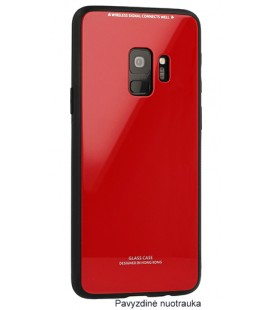 "Raudonas dėklas Samsung Galaxy S9 Plus telefonui ""Glass Case"""