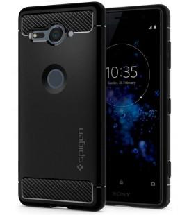 "Juodas dėklas Sony Xperia XZ2 Compact telefonui ""Spigen Rugged Armor"""