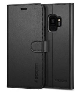 """Juodas atverčiamas dėklas Samsung Galaxy S9 telefonui """"Spigen Wallet S"""""""
