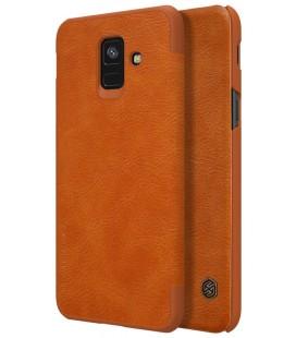 """Odinis rudas atverčiamas dėklas Samsung Galaxy A6 2018 telefonui """"Nillkin Qin"""""""