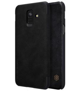 """Odinis juodas atverčiamas dėklas Samsung Galaxy A6 2018 telefonui """"Nillkin Qin"""""""