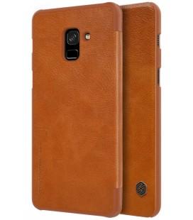 """Odinis rudas atverčiamas dėklas Samsung Galaxy A8 2018 telefonui """"Nillkin Qin"""""""