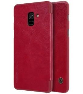 """Odinis raudonas atverčiamas dėklas Samsung Galaxy A8 2018 telefonui """"Nillkin Qin"""""""