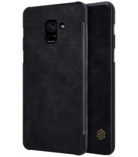 """Odinis juodas atverčiamas dėklas Samsung Galaxy A8 2018 telefonui """"Nillkin Qin"""""""