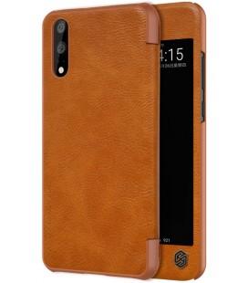 """Odinis rudas atverčiamas dėklas Huawei P20 telefonui """"Nillkin Qin S-View"""""""
