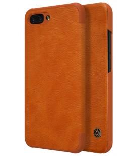 """Odinis rudas atverčiamas dėklas Huawei Honor 10 telefonui """"Nillkin Qin S-View"""""""