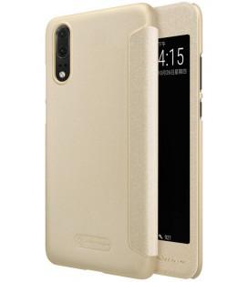"""Atverčiamas auksinės spalvos dėklas Huawei P20 telefonui """"Nillkin Sparkle S-View"""""""