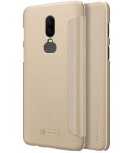 """Atverčiamas auksinės spalvos dėklas Oneplus 6 telefonui """"Nillkin Sparkle"""""""