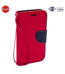 """Raudonas atverčiamas dėklas Huawei P Smart telefonui """"Telone Fancy"""""""