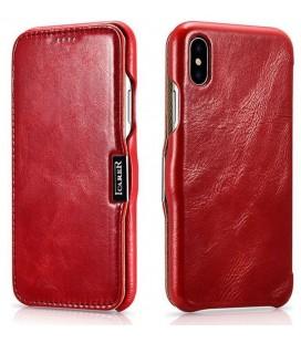 """Raudonas odinis atverčiamas dėklas Apple iPhone X telefonui """"iCarer Vintage"""""""
