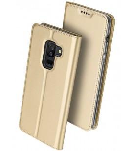 """Auksinės spalvos atverčiamas dėklas Samsung Galaxy A6 Plus 2018 telefonui """"Dux Ducis Skin"""""""