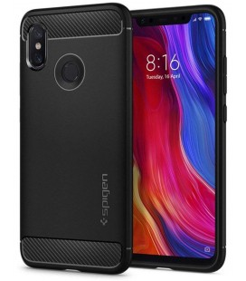 "Juodas dėklas Xiaomi Mi8 telefonui ""Spigen Rugged Armor"""
