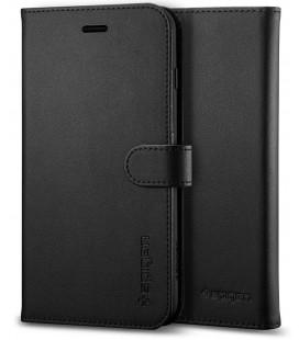 """Juodas atverčiamas dėklas Apple iPhone 7/8 telefonui """"Spigen Wallet S"""""""